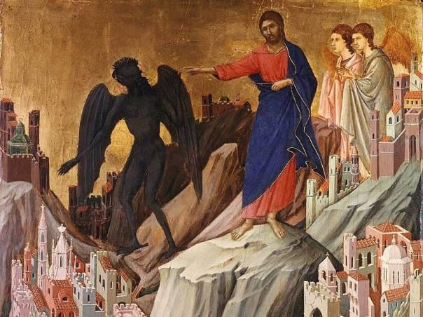 """Duccio di Buoninsegna, """"A tentação no monte"""" - Domínio Público"""
